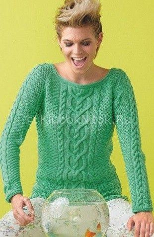 Зеленый пуловер с аранами | Вязание для женщин | Вязание спицами и крючком. Схемы вязания.