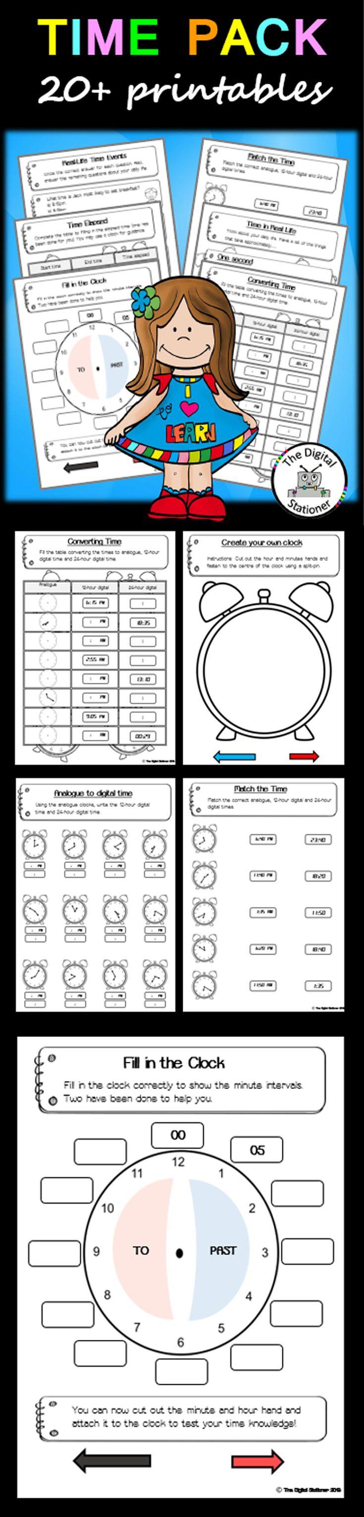 $2 - Telling the Time - 20+ worksheets printables (analog & digital) games maths teaching resources