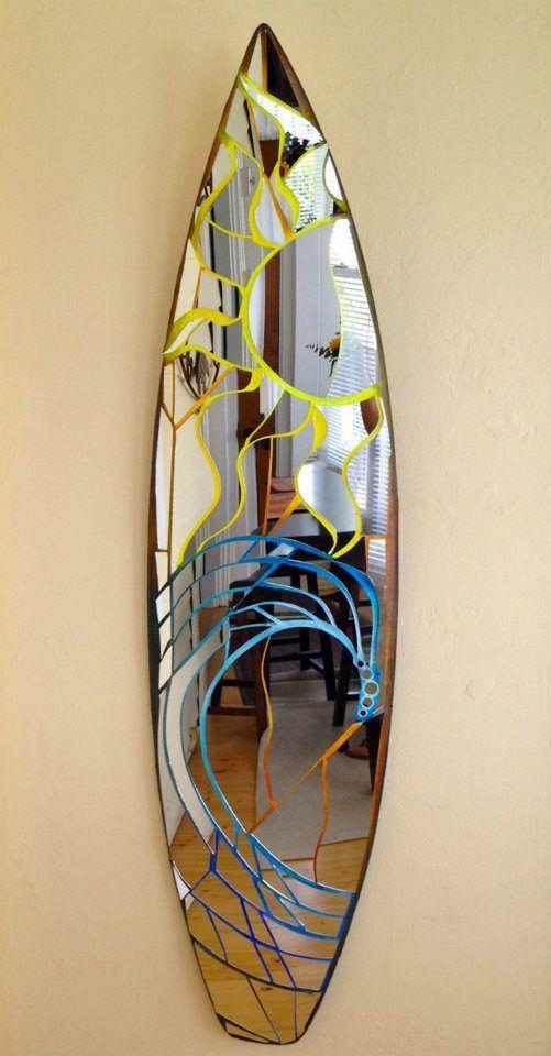 Vertical surfboard mirror surf art sun & wave
