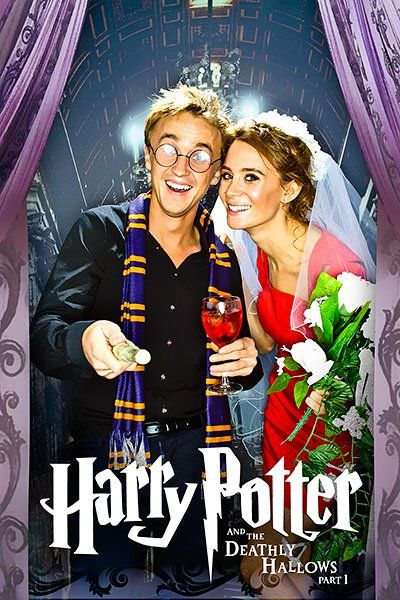 Draco Malfoy & Astoria Greengrass (Tom Felton, Jade Olivia), married couple at the final Harry Potter book. Also partners in real life.
