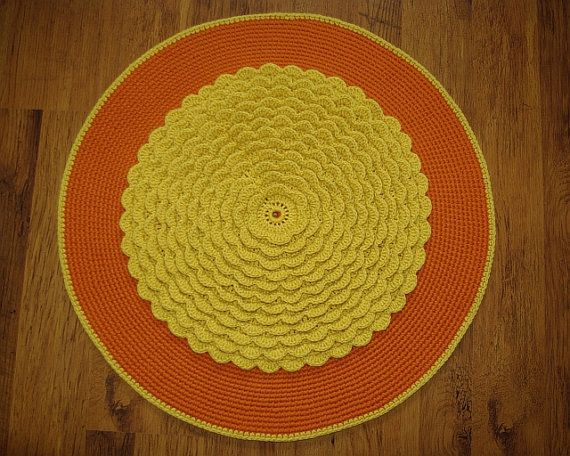 Crochet round rug 275'' 70 cm by AnuszkaDesign on Etsy, $55.00