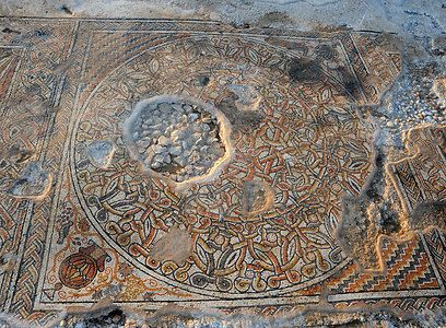 1,500 year old Mosaic just discovered in Beit Kama, Northern Negev during new road construction on the path of the biblical road from the Galilee to Beer Sheva. These are remains of what appears to have been an ancient Christian / Jewish Estate with a travellers inn , synagogues, a monastery & probably wine presses. l ynet פסיפס צבעוני בן כ-1,500 שנה נחשף בבית קמה - תיירות l May 2013