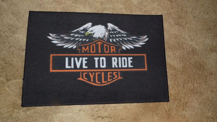 MOTORCYCLE LIVE TO RIDE HD BLACK DOOR MAT RUG INDOOR OUTDOOR NWOT #HarleyDavidson #Novelty