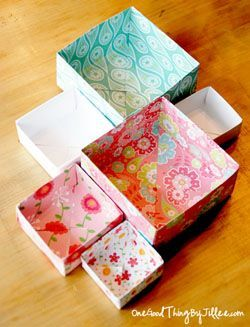 Origami boxes of different sizes.