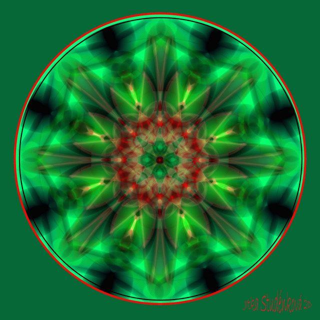 Mandala č.7 - Prostor Mandala vám pomůže ochránit vaše již dosažené hranice, kdykoliv se někdo pokusí omezit vás, ovládnout. počítačová grafika, rozměr 30x30 cm, laminováno jako ochrana proti UV záření dodáváno bez vodoznaku