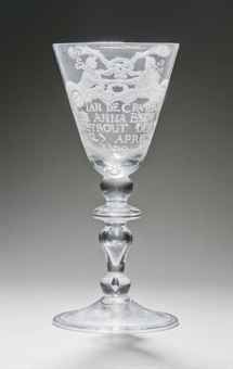 A DUTCH ENGRAVED GLASS MARRIAGE GOBLET  MID-18TH CENTURY  Price realised  GBP 1,750
