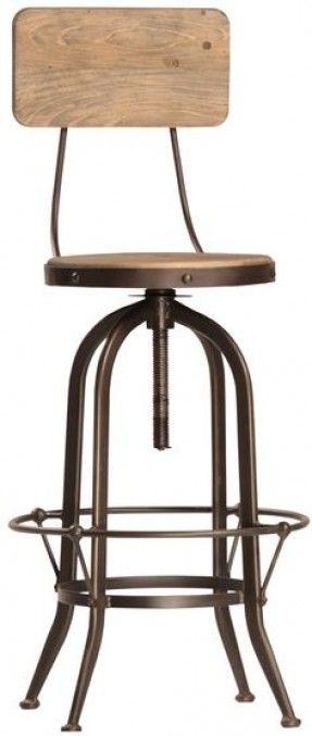 bar stools industrial, wooden swivel with back - Google Search