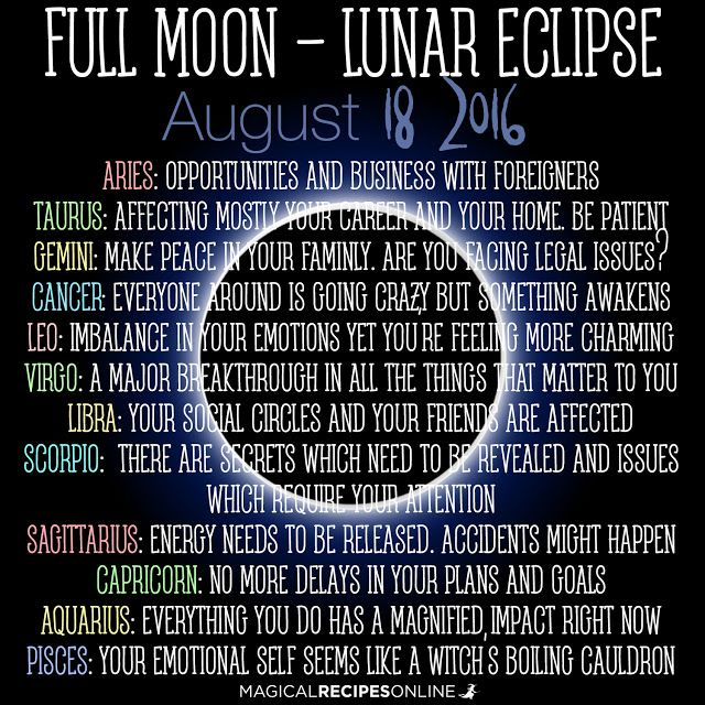 Lunar Eclipse  Full Moon in Aquarius August 18 2016…
