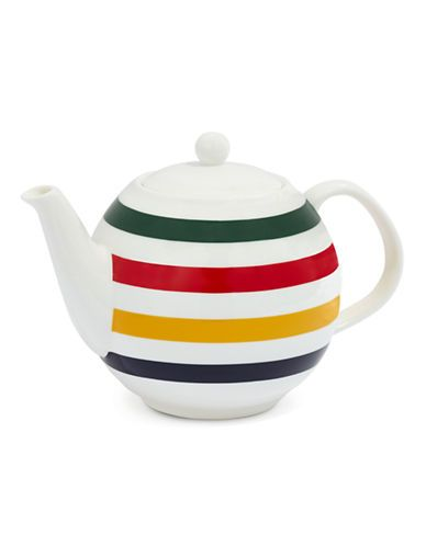 Hudson Bay Collections teapot, HBC point blanket multi stripe decoration, c. 2010s, ceramic, Canada
