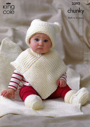 King Cole Baby Hat, Poncho, Booties & Blanket Comfort Chunky Knitting Pattern 3392 King Cole http://www.amazon.co.uk/dp/B00AFE6XK2/ref=cm_sw_r_pi_dp_cu..vb1F02M3C