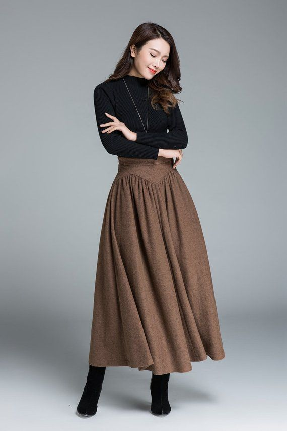 4be72a5e4 Wool skirt, brown skirt, long skirt, women skirt, vintage skirt ...