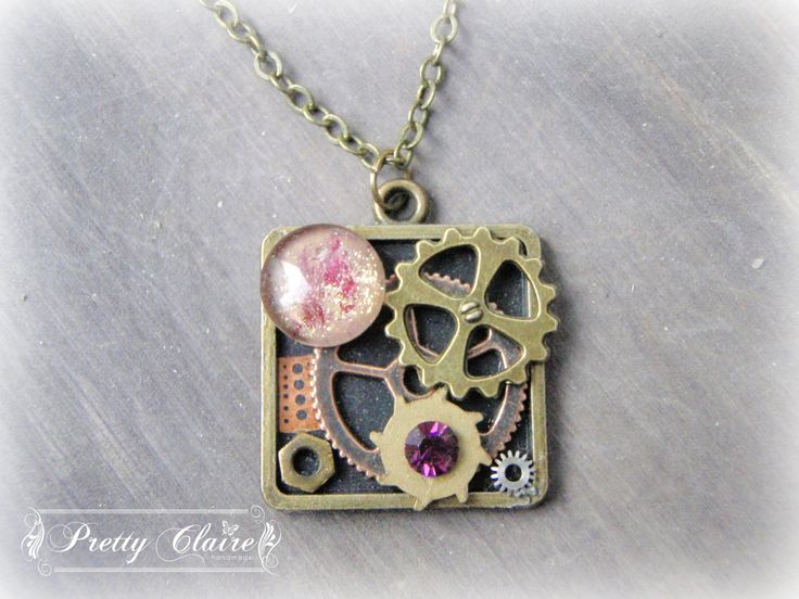 Steampunk necklace, steampunk handmade pendant, purple gem, square pendant, unique gift, unique jewelry, special necklace by PrettyClaire on Etsy