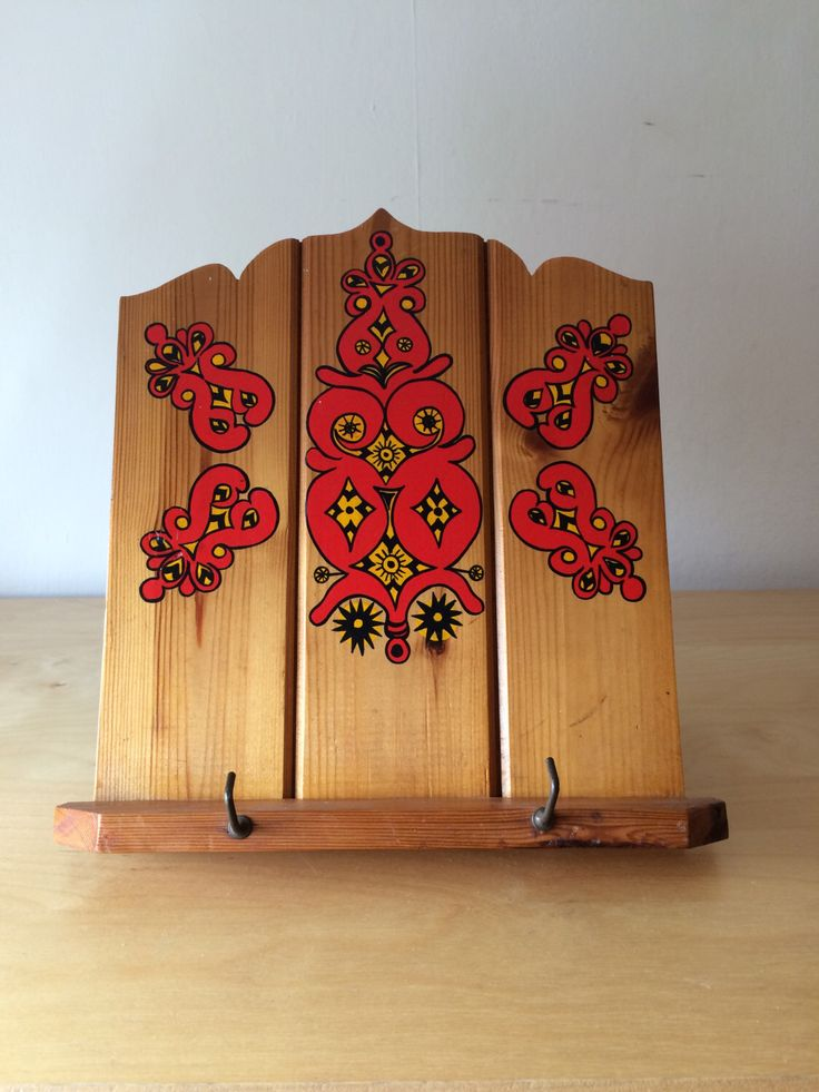 items similar to vintage wooden recipe book holder with hand painted design on etsy