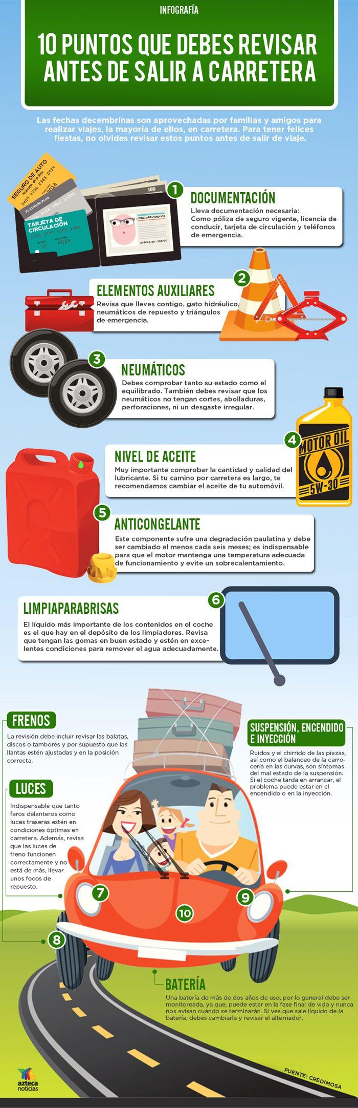 10 puntos que debes revisar antes de salir a carretera #infografia