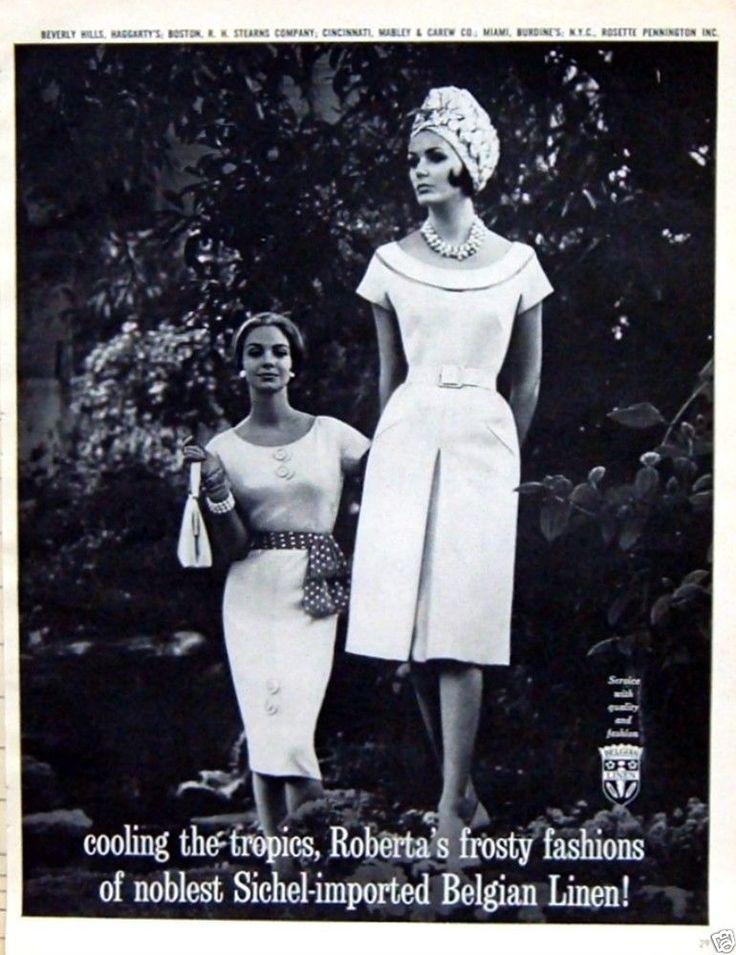1961 Roberta's Sichel Imported Belgian Linen Sheath Dress Mad Men Fashions Ad #Robertas