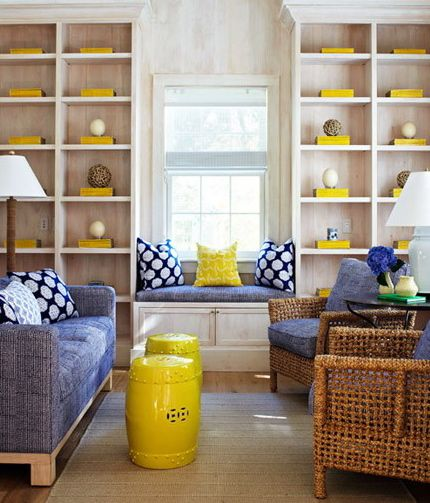 Blue And Yellow Living Room With Window Seat, And A Lovely Collection Of  Yellow Accessories Part 93