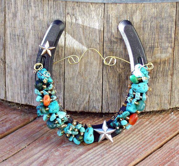 Turquoise & Stars Horseshoe Beaded Horseshoe by TooMiniShoes