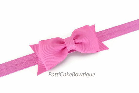 Paris Pink Baby Hair Bow Headband Pink Tuxedo by PattiCakeBowtique