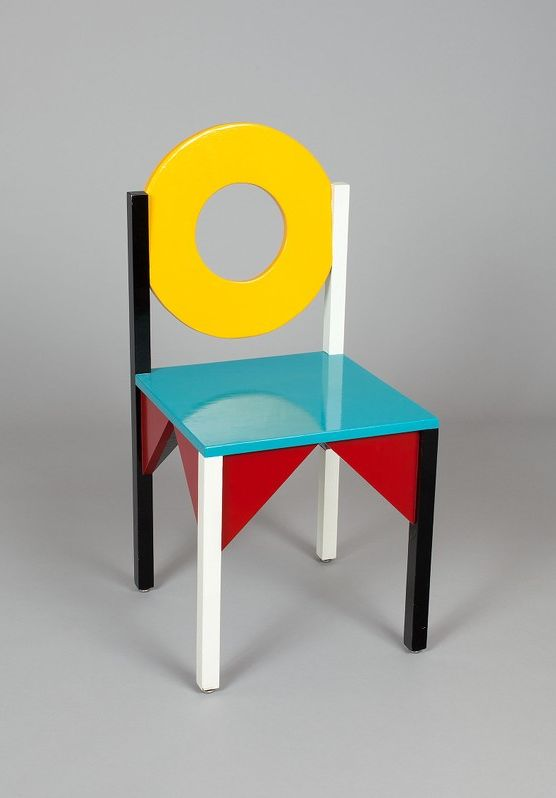 """""""New World"""" Chair (1984) - Paul Ludick - Wood with polychrome lacquer. 35 1/2 x 17 x 17 in."""