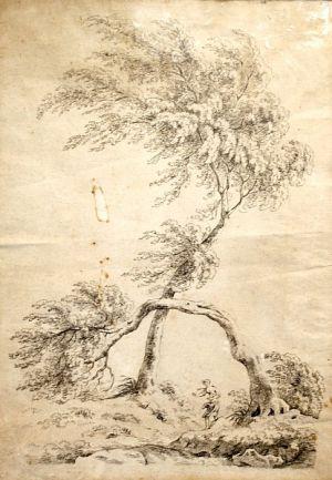 Stromy s figurální stafáží-Antonín Mánes