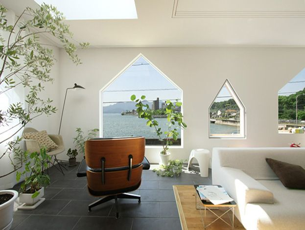 A Japanese house with house-shaped windows by Suppose Design Office - manmakehome.com