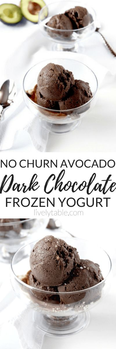 Dark Chocolate Avocado Frozen Yogurt | An extra creamy base of Greek yogurt and avocado makes this dark chocolate frozen yogurt a sweet and healthy treat. Plus it's easy to make-no churning required! | Via LivelyTable.com