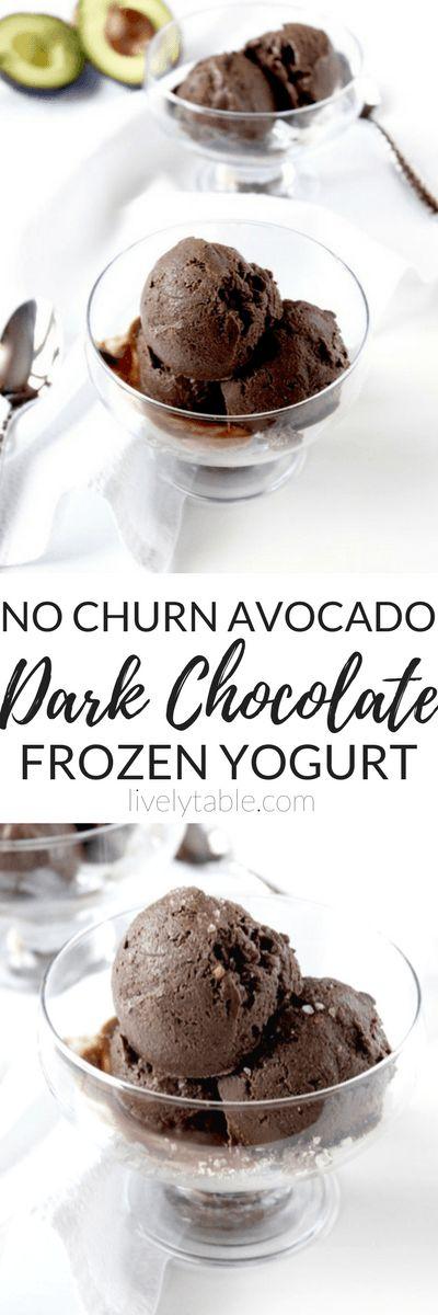 Dark Chocolate Avocado Frozen Yogurt | An extra creamy base of Greek yogurt and avocado makes this dark chocolate frozen yogurt a sweet and healthy treat. Plus it's easy to make-no churning required! | Via LivelyTable.com