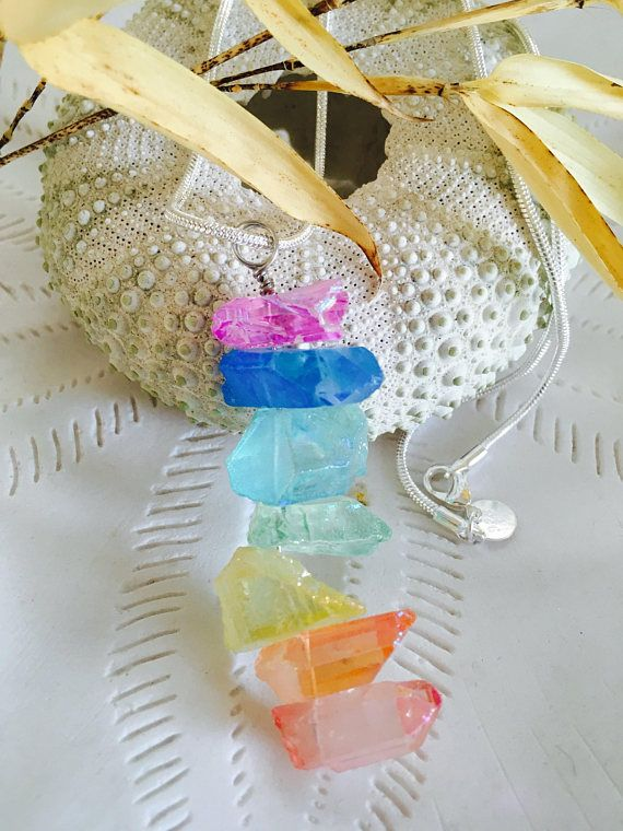 Rainbow Crystal Quartz  Point Necklace Raw quartz necklace