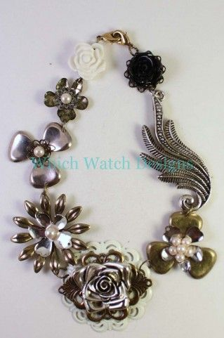 Mixed Metal Vintage Style Linked Flower Necklace Enhancer - Which Watch Designs