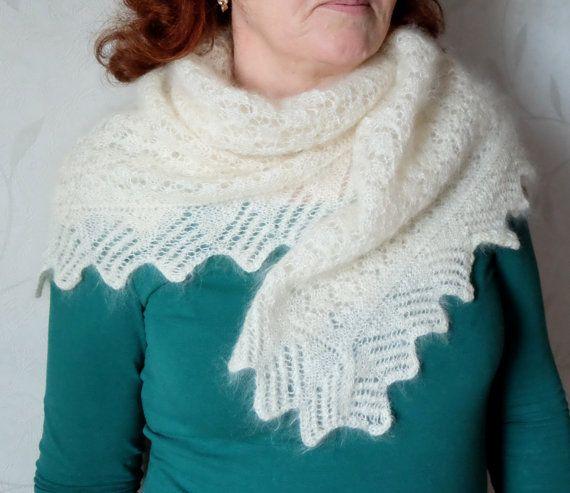 Vintage Downy Shawl downy scarf Soviet warm scarf by MadeInTheUSSR