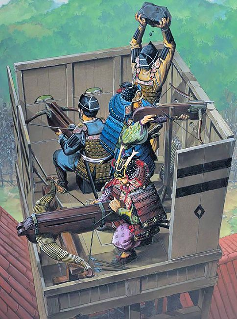 """Stone and arrow-firing siege crossbows at Atsukashi, 1189"""