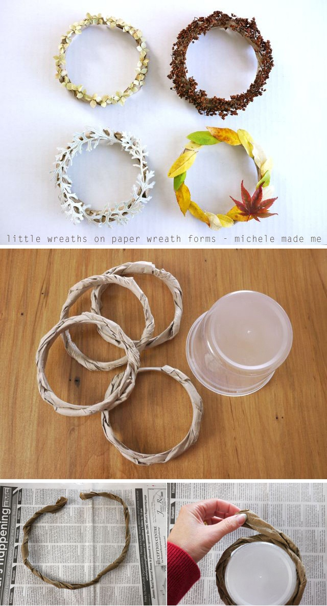 Wreaths on paper forms from Michele Made Me. (Created using any paper and a round container) http://www.michelemademe.com/2012/10/little-paper-wreaths-au-natural.html Tutorial showing how to make the bare forms, here: http://www.michelemademe.com/2012/10/my-tiny-brain-wave-5-easy-paper-wreath.html