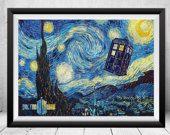Doctor Who Starry Night Print, Tardis Print, Doctor Who Poster, Doctor Who Art, Doctor Who Wall Art, Vincent van Gogh, Dr Who Illustration