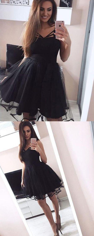 Criss Cross Black Fit Flare Short Formal Dress With Tulle Skirt V Neck Two Layered Skirt Black Homeco Dress Nigth Tulle Homecoming Dress Homecoming Dresses [ 1500 x 600 Pixel ]