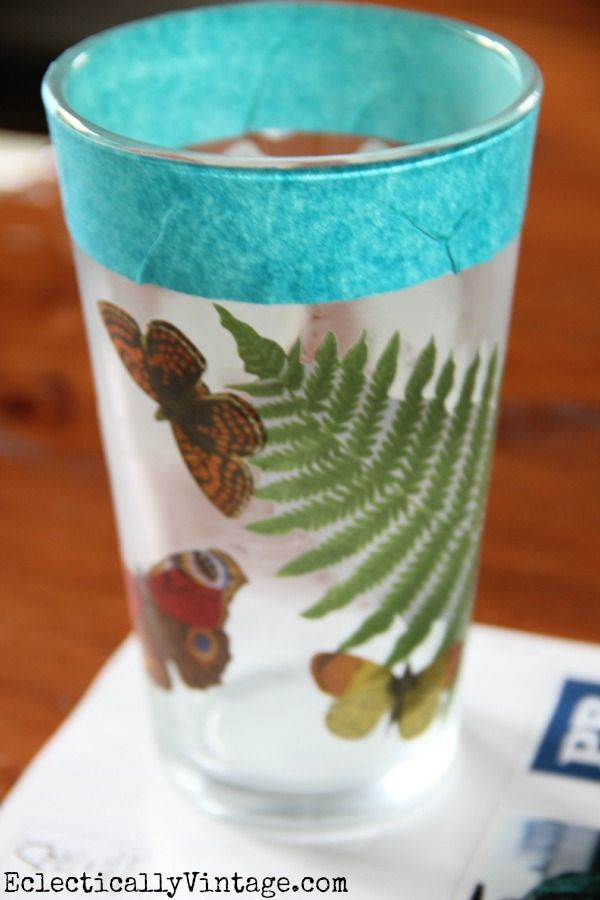 Decoupage on Glass DIY- this makes it waterproof and dishwasher safe!  eclecticallyvintage.com