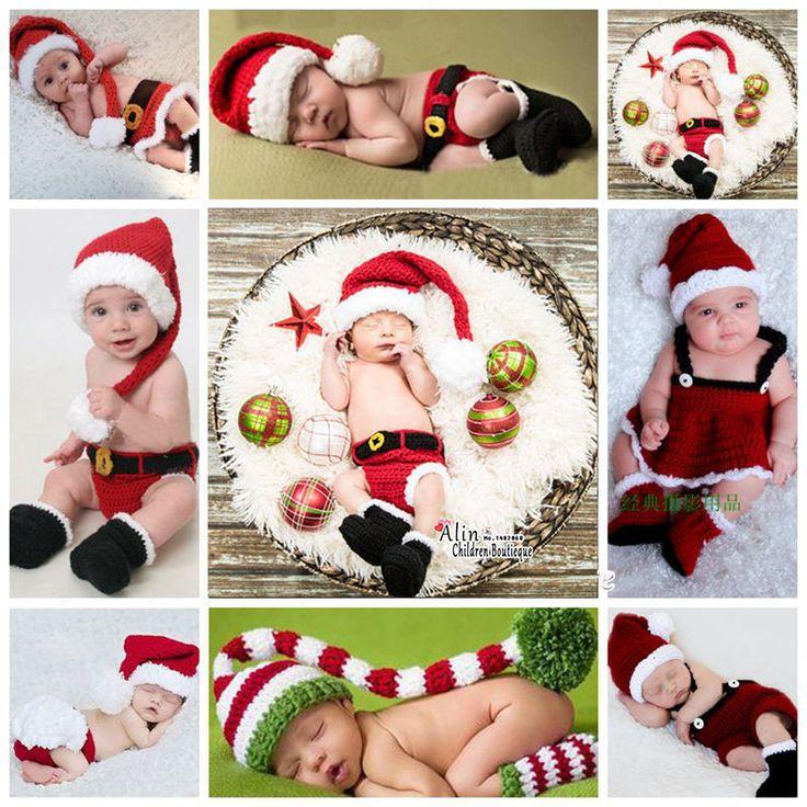 Weihnachten häkeln Neugeborene Fotografie Requisiten, Winter gestrickte Baby Ko…