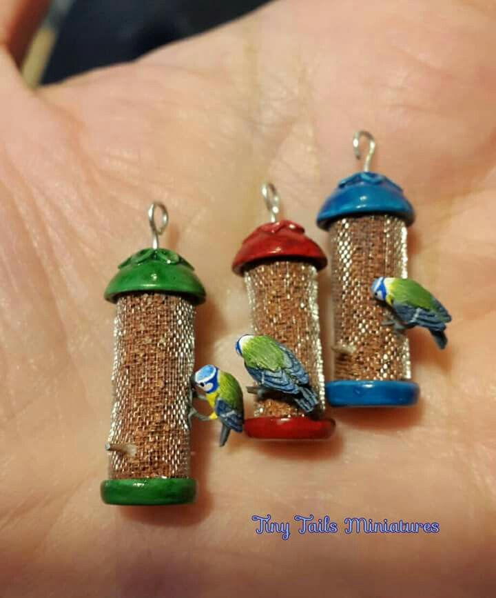 Miniature bluetits on peanut feeders by Tiny Tails Miniatures