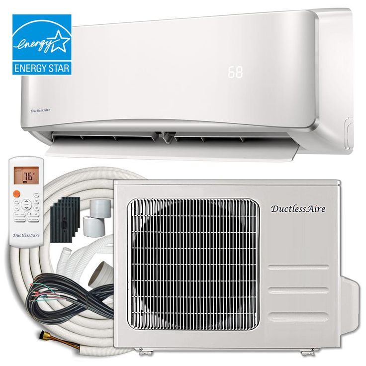 Ductlessaire Energy Star 12 000 Btu 1 Ton Ductless Mini Split Air Conditioner And Heat Pump Variable Speed Inverter 220 Volt 60hz Da1221 H2 The Home Depot Ductless Mini Split Ductless Heat Pump System