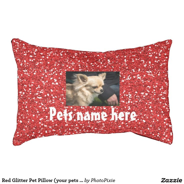 Faux Red Glitter Design Pet Pillow/Bed Small (your pets name and Photo)