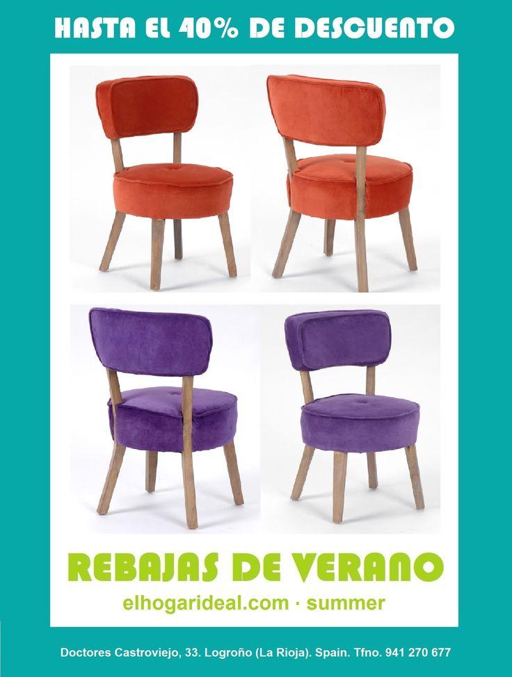 Decoracion online, el hogar ideal, rebajas 44, silla de terciopelo naranja, silla de terciopelo morada. elhogarideal.com