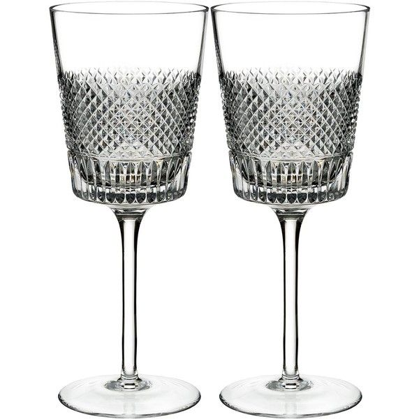 Waterford Diamond Line Wine Glass (Set of 2) (790 DKK) ❤ liked on Polyvore featuring home, kitchen & dining, drinkware, diamond wine glasses, waterford wine glasses, twin pack, set of 2 wine glasses and waterford