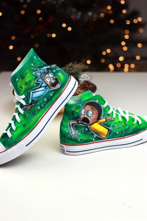 f556f7e8b61d Rick and Morty shoes hand painted airbrush canvas sneakers. Design your own  shoes. custom painted rick and morty adult swim rick galaxy shoe head  converse ...