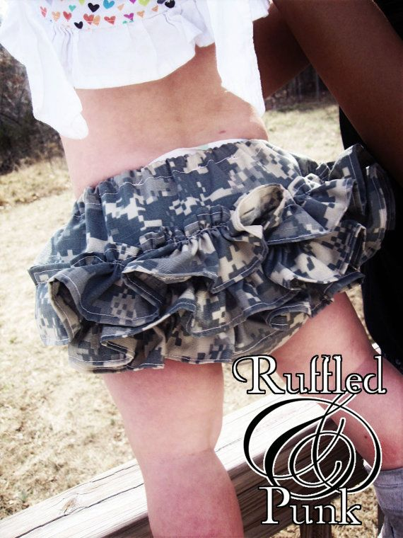 Ruffled Diaper Cover, Ruffle Bloomers, ACU Army Military Hooah Hunter Camo, Childrens Clothing sizes 0 - 24 months. $22.00, via Etsy.