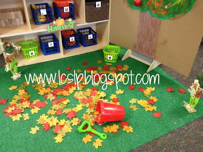 love this preschool center with the fake Velcro apples to the tree