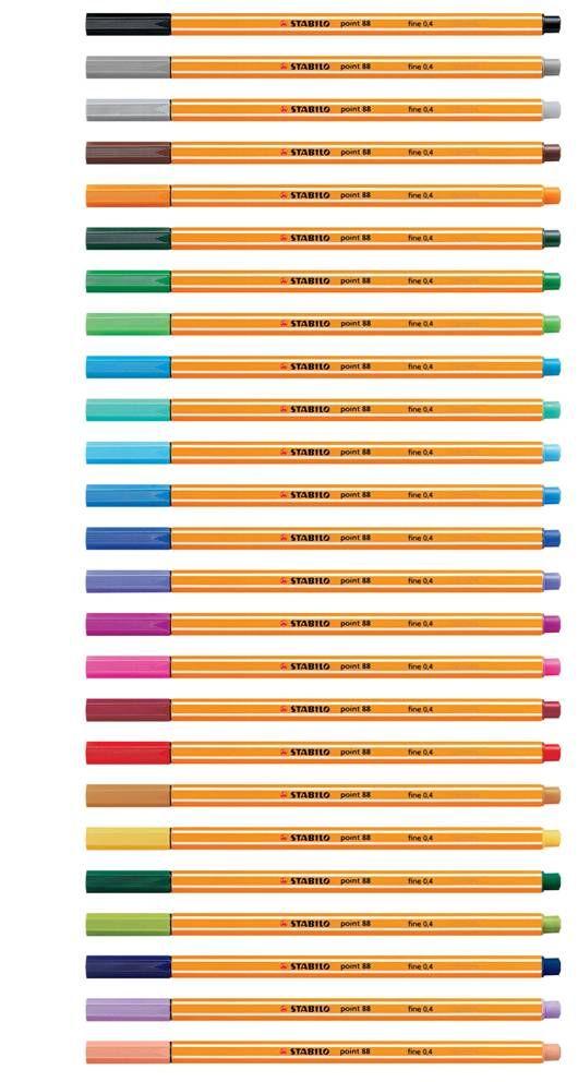 ideaal voor te kleuren en tekenen --> Stabilo Point 88.