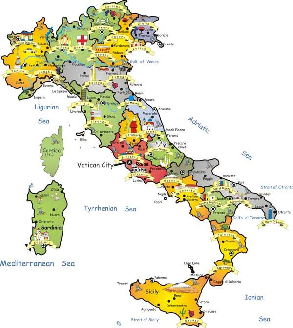 Travel map of Italy. Italy travel map.