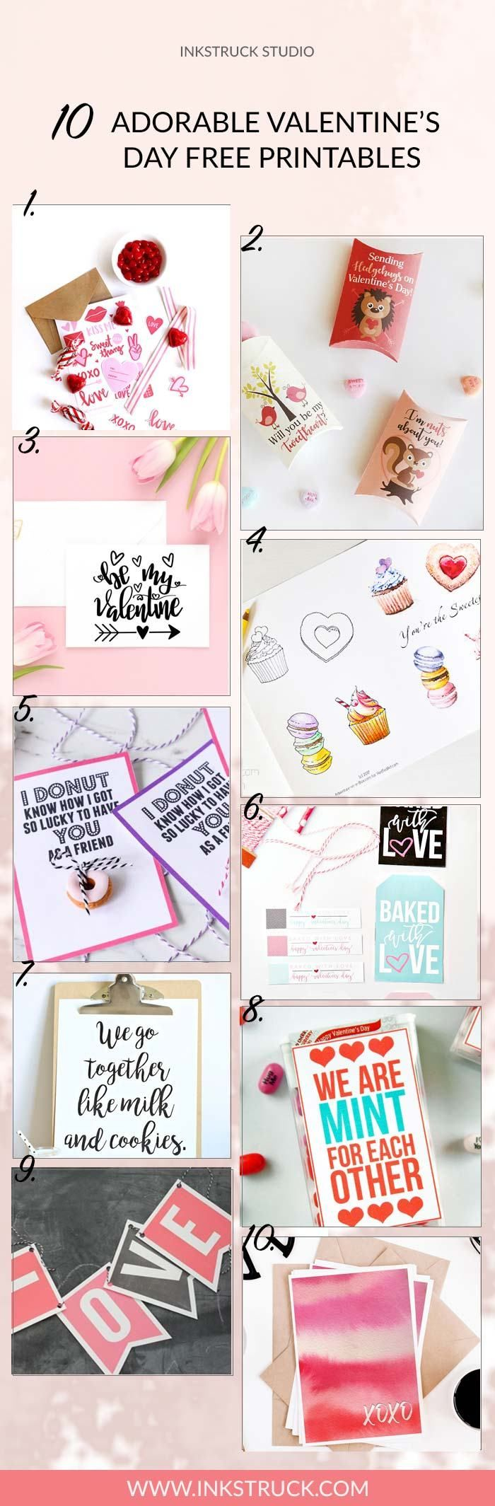 These ridiculously adorable Valentine's Day free printables will make things super easy for you if you're doing something special for your loved ones. - Inkstruck Studio