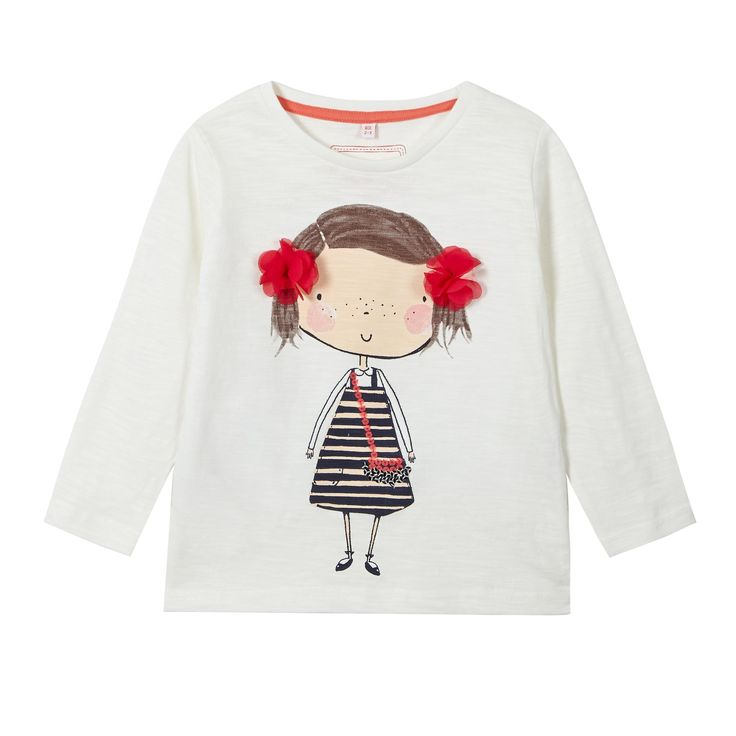 Girl's cream girl print t-shirt - Kids - Debenhams.com