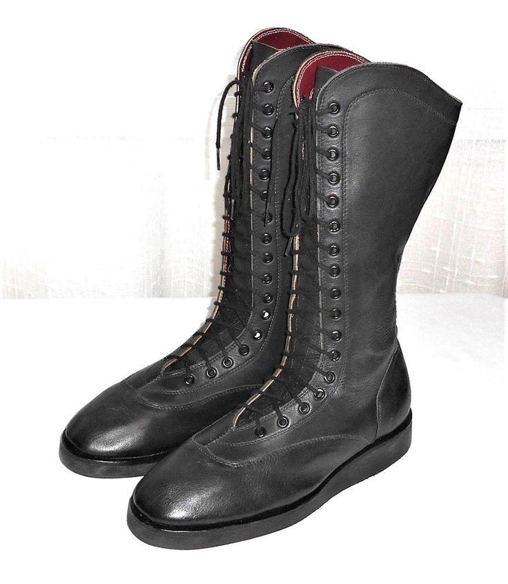 Men's Professional Wrestling Boots Black Leather Lace Up NO SIZE Est. 9.5  READ #UnbrandedHandmade #LaceUpWrestlingBoot