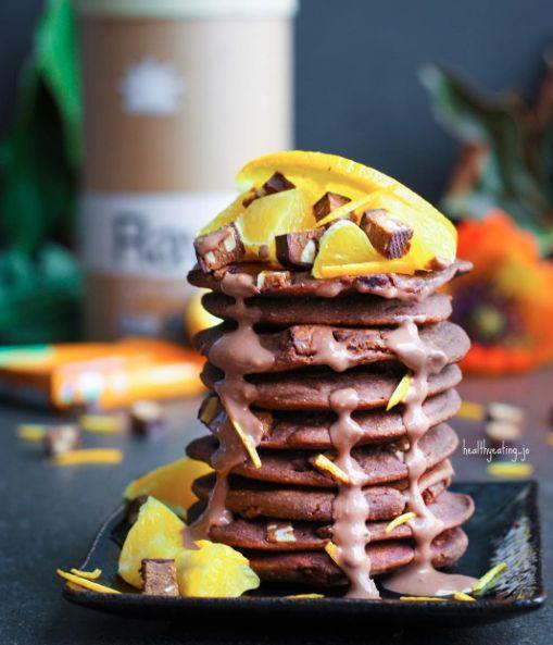 Vegan Chocolate Orange Peanut Butter Chunk Protein Pancakes by @healthyeating_jo - Sweeter Life Club